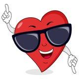 Lyckligt hjärtatecken med solglasögon Arkivbilder