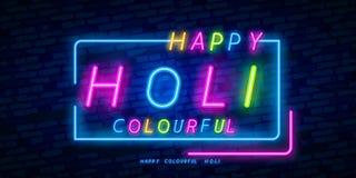 Lyckligt Holi neontecken Rengöringsdukbanertema Holi, logo, emblem och etikett Neontecken, ljus skylt, ljust baner vektor stock illustrationer