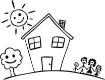 lyckligt hus för familj Arkivbild