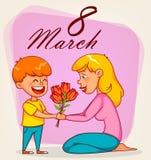 Lyckligt internationellt kort för hälsning för dag för kvinna` s stock illustrationer