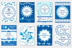 Lyckligt Israel Independence Day hälsningkort, affisch, reklamblad, inbjudan med medborgarefärgerna och stjärna, girland, flagga Fotografering för Bildbyråer