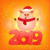 Lyckligt kinesiskt banerkort 2019 för nytt år med det gulliga tecknad filmsvinteckenet vektor illustrationer