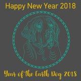 Lyckligt kinesiskt kortår för nytt år 2018 av hunden vektor royaltyfri illustrationer