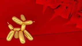 Lyckligt kinesiskt nytt år 2018 med guld- hundabstrakt begrepp för ballon på röd bakgrund framförande 3d vektor illustrationer