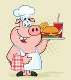 Lyckligt kockPig Cartoon Mascot tecken som rymmer en Tray Of Fast Food And som ger upp en tumme royaltyfri illustrationer