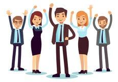 Lyckligt kontorsfolk Lyckat tecken för vektor för affärsman och kvinna stock illustrationer
