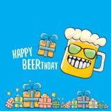Lyckligt kort eller tryck för Beerthday vektorhälsning Affisch för beröm för parti för lycklig födelsedag med det skraj ölteckene vektor illustrationer