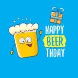Lyckligt kort eller tryck för Beerthday vektorhälsning Affisch för beröm för parti för lycklig födelsedag med det skraj ölteckene royaltyfri illustrationer