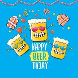 Lyckligt kort eller tryck för Beerthday vektorhälsning Affisch för beröm för parti för lycklig födelsedag med det skraj ölteckene stock illustrationer