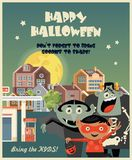 Lyckligt kort för allhelgonaaftonvektorhälsning med halloween ungar Fotografering för Bildbyråer