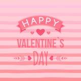Lyckligt kort för dag för valentin` s med hand-drog beståndsdelar, hjärta, band, pil, band Gullig typografivektor Arkivfoton