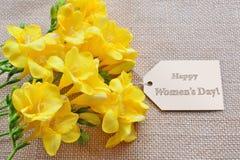 Lyckligt kort för dag för kvinna` s för 8 mars Fotografering för Bildbyråer