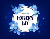 Lyckligt kort för dag för moder` s med förgätmigej och signalljus på mörk bakgrund blom- vektor för baner royaltyfri illustrationer