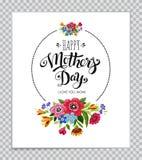 Lyckligt kort för dag för moder` s på genomskinlig bakgrund Dragen hand märka lycklig dag för moder` s i rund ram med blommor vektor illustrationer