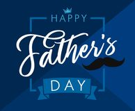 Lyckligt kort för hälsning för blått för bokstäver för dag för fader` s Arkivfoto