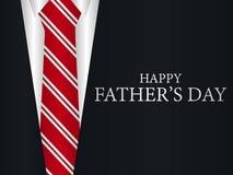 Lyckligt kort för hälsning för dag för fader` s En dräkt med ett band, ett festligt baner vektor stock illustrationer