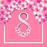Lyckligt kort för hälsning för dag för kvinna` s, kvinnor och text8th mars vektor illustrationer