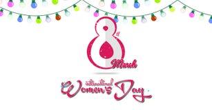 Lyckligt kort för hälsning för dag för kvinna` s Vykort på mars 8 Färgrikt ljus med vit bakgrund Arkivbilder