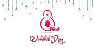 Lyckligt kort för hälsning för dag för kvinna` s Vykort på mars 8 Färgrikt ljus med vit bakgrund Arkivfoto