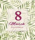 Lyckligt kort för hälsning för dag för kvinna` s Vykort på mars 8 Text med blommor Arkivfoto