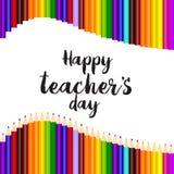 Lyckligt kort för hälsning för dag för lärare` s med skriftlig text för hand vektor stock illustrationer
