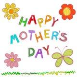 Lyckligt kort för hälsning för dag för moder` s Klotterblommor räcker utdragen text `` för den lyckliga dagen för moder` s `` stock illustrationer