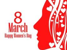 Lyckligt kort för hälsning för dag för kvinna` s 8 mars Kvinnlig framsida med texten av lyckönskan extra ferie för kortformat ock royaltyfri illustrationer