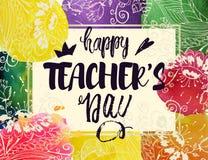 Lyckligt kort för hälsning för dag för lärare` s Ram med lyckönskan till dagen av lärare Vattenfärgfläckar med blommor stock illustrationer