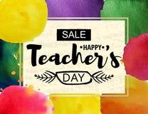 Lyckligt kort för hälsning för dag för lärare` s Ram med meddelandet av rabatter för dagen av lärare Vattenfärgfläckar royaltyfri illustrationer