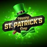 Lyckligt kort för hälsning för dag för St Patrick ` s vektor illustrationer