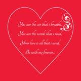 Lyckligt kort för hälsning för dag för valentin` s på röd bakgrund Royaltyfria Foton