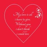 Lyckligt kort för hälsning för dag för valentin` s på röd bakgrund Arkivfoton