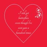 Lyckligt kort för hälsning för dag för valentin` s på röd bakgrund Fotografering för Bildbyråer