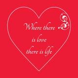 Lyckligt kort för hälsning för dag för valentin` s på röd bakgrund, Arkivbilder