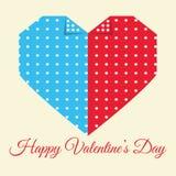 Lyckligt kort för hälsning för dag för valentin` s på vit bakgrund Arkivfoton