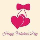 Lyckligt kort för hälsning för dag för valentin` s på vit bakgrund Arkivbild