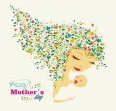 Lyckligt kort för hälsning för moderdag stock illustrationer