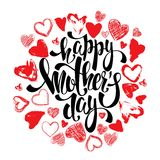 Lyckligt kort för hälsning för moderdag med hjärtor, bokstäver Royaltyfri Foto