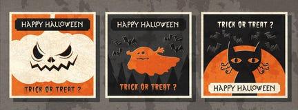 Lyckligt kort för hälsning för halloween vektorillustration royaltyfri illustrationer