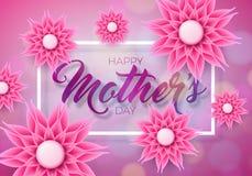 Lyckligt kort för hälsning för moderdag med blomman på rosa bakgrund Mall för vektorberömillustration med stock illustrationer
