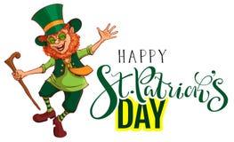 Lyckligt kort för hälsning för StPatricks dagtext Röda roliga för troll danser glatt Royaltyfri Bild