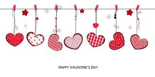 Lyckligt kort för hälsning för valentin` s med hängande hjärtor stock illustrationer