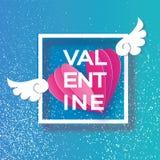 Lyckligt kort för hälsningar för dag för valentin` s Flyga origamiängel påskyndar och romantisk rosa hjärta Förälskelse Bevingad  Royaltyfri Fotografi