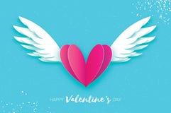 Lyckligt kort för hälsningar för dag för valentin` s Origamiängelvingar Arkivfoton