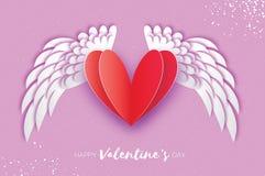 Lyckligt kort för hälsningar för dag för valentin` s Origamiängelvingar och romantisk röd hjärta Royaltyfria Foton