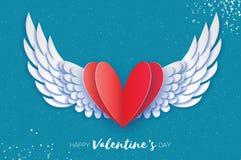 Lyckligt kort för hälsningar för dag för valentin` s Origamiängelvingar och romantisk röd hjärta Förälskelse Bevingad hjärta i pa Royaltyfri Foto