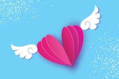 Lyckligt kort för hälsningar för dag för valentin` s Origamiängelvingar och romantisk rosa hjärta Förälskelse Bevingad hjärta i p Arkivfoto