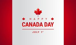 Lyckligt kort för Kanada daghälsning - vektor för Kanada lönnlövflagga royaltyfri illustrationer