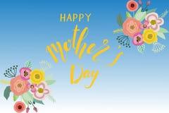 Lyckligt kort för moderdag med blom- garnering, vektorillustrati Fotografering för Bildbyråer