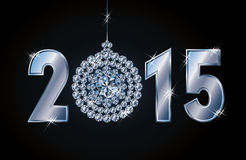 Lyckligt kort för nytt år 2015 med diamantxmas-bollen Fotografering för Bildbyråer